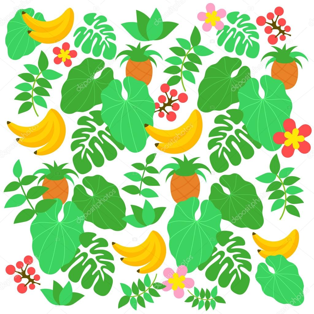 cartoon comic vector tropical jungle fruits and leaves vector