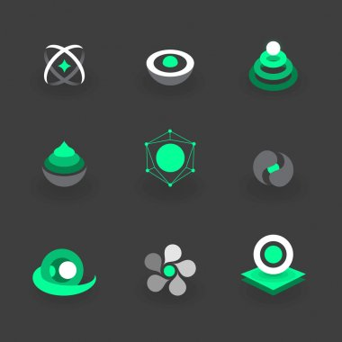 Modern and Minimal Geometric Logo Elements icon set 2
