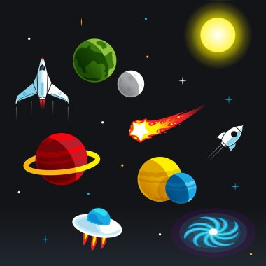 Cartoon Space Elements for info-graphic