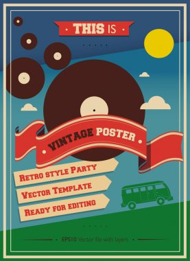 Vintage Music Retro Hippie Cocktail Party Poster Vector design template