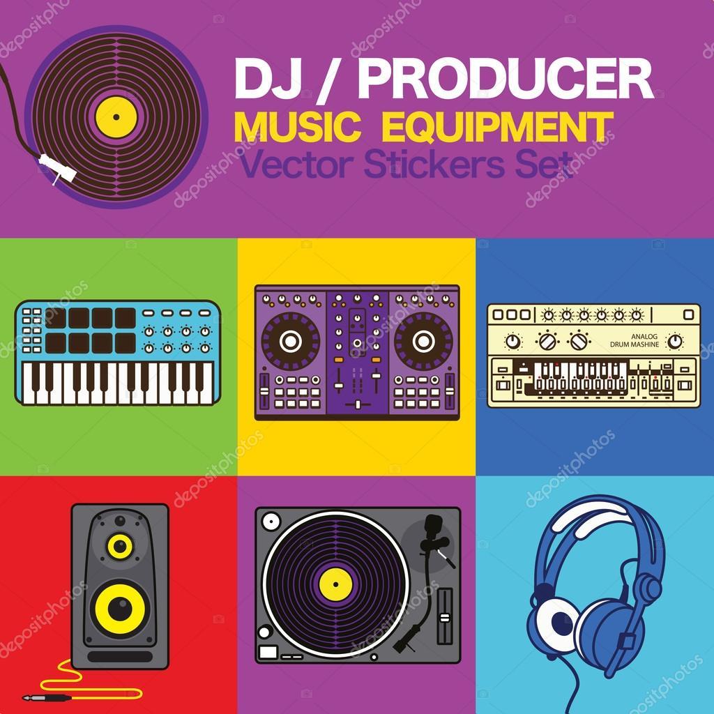 DJ Producer music maker equipment Vector icons set — Stock Vector