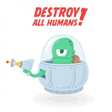 Green Space Alien in UFO with Plasma Gun Blaster wants to destroy all Humans isolated on white vector
