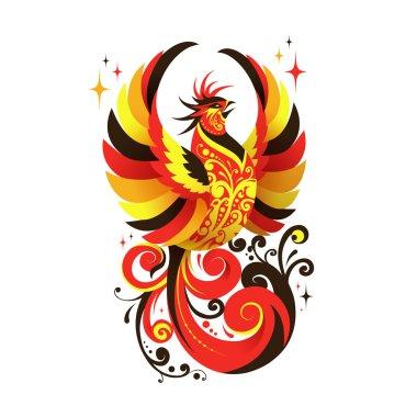 Vector Phoenix National Russian Bird Logo Emblem isolated on white background
