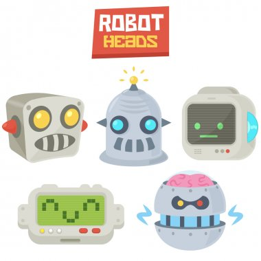 Vintage Comic Retro Vector Illustration Computer Robot Heads logo icons set template isolated on white