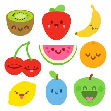 Funny Flat Cartoon Happy Yummy Fruits icons clip art vector illustration on white