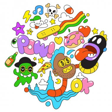 Crazy Freaky Colorful Comic Cartoon Fun Kid Urban Vector collage illustration sticker badges on white background