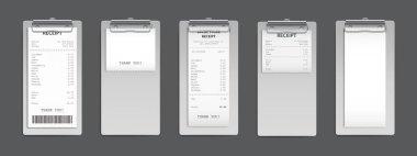 Cash receipt on clipboard, paper bill, invoice set