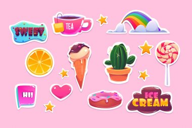 Cute stickers set with rainbow, heart, sweets and stars. Vector cartoon icons of donut, ice cream, orange and quotes. Patches with fun symbols, cactus, tea and lollipop isolated on pink background icon