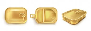 Golden tin can for sardine in top and perspective view. Vector realistic mockup of rectangle metal container for fish and tuna. Empty conserve box with open and closed lid isolated on white background icon