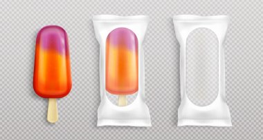 Fruit popsicle in white package with clear window. Vector realistic mockup of blank plastic pouch for fruit ice cream on wooden stick isolated on transparent background icon