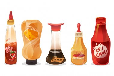 Sauces and dressings in glass and plastic bottles. Ketchup, mayonnaise, mustard, hot chilli, cheese and soy seasoning in package. Vector cartoon set of different sauces isolated on white background icon