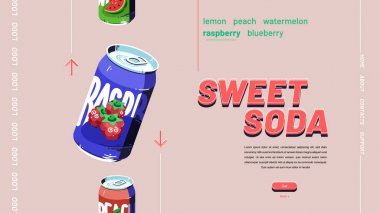 Sweet soda banner. Website design of fizzy drinks with fruits juice. Vector landing page with flat illustration of raspberry, watermelon and peach beverage in aluminium cans icon