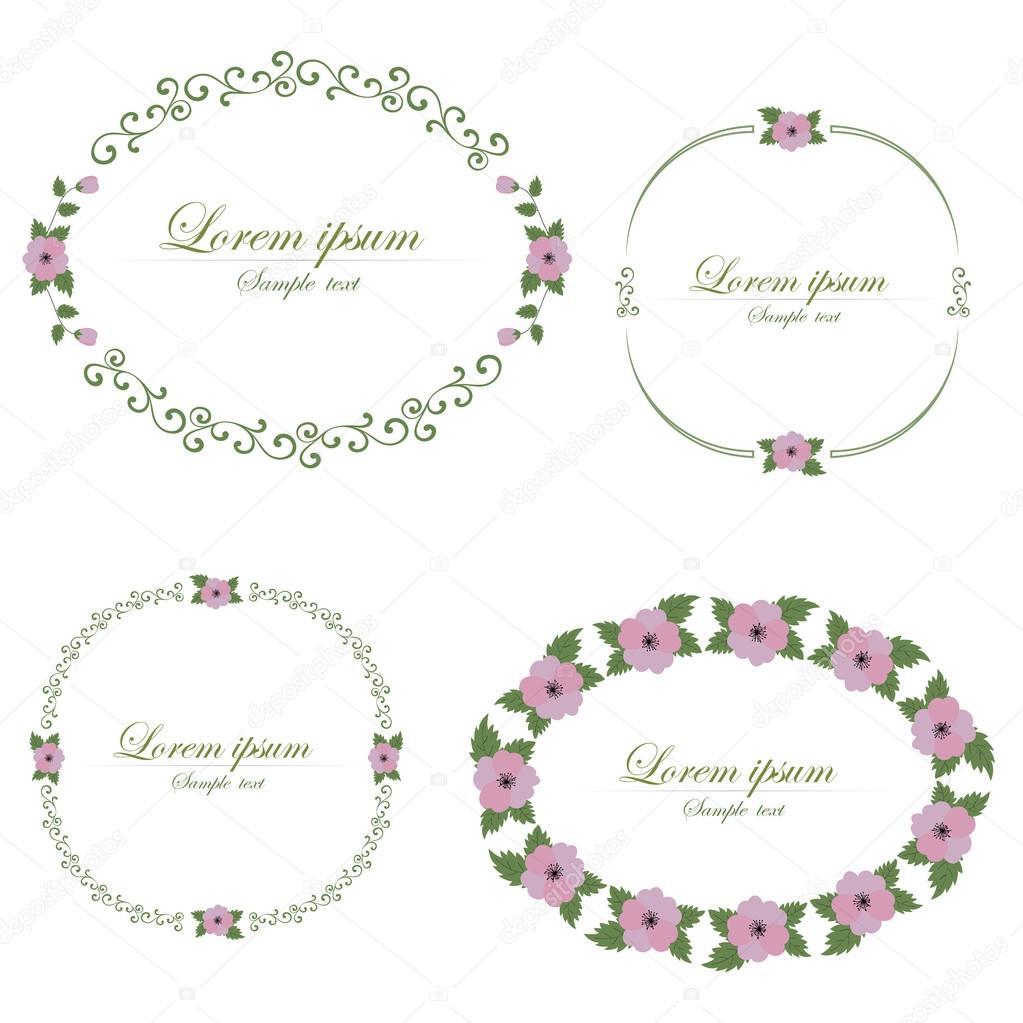 Set of flowers design elements.