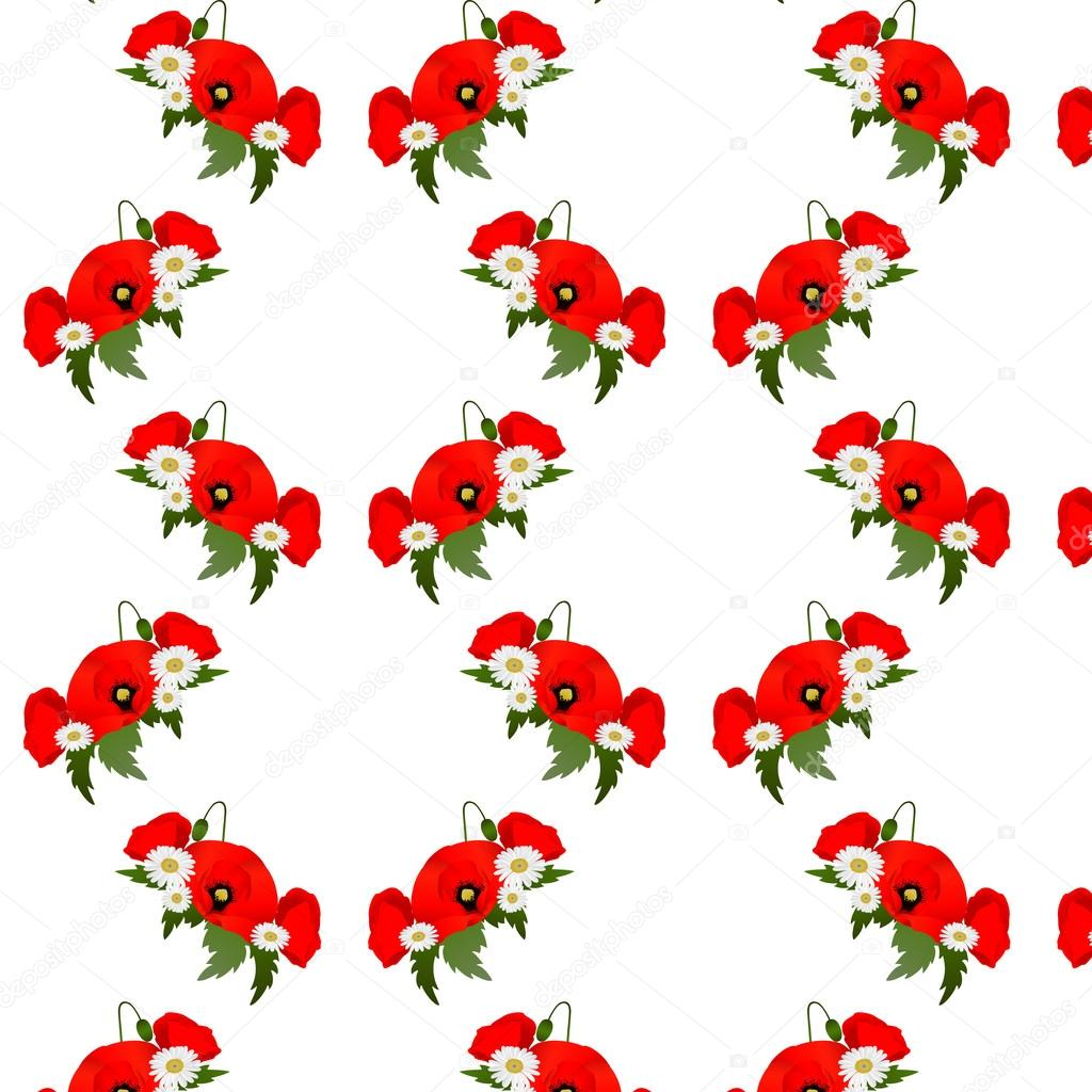 Seamless pattern with chamomile and poppies flowers