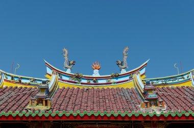 Dragons and fireball at the roof of Vihara Buddha Prabha, Yogyakarta