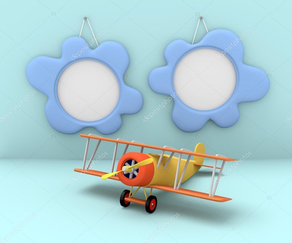 Zwei digitale Bilderrahmen und altes Flugzeug auf einem blauen ...