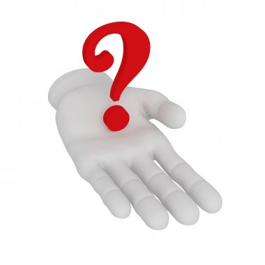 3d white human open hand holds question mark . White background.