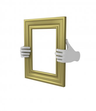 Two hands holding a gold rectangular picture frame. 3d. Isolated