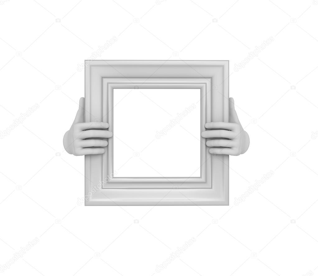 Zwei Hände halten ein weißes Quadrat Bilderrahmen. 3D. isoliert ...