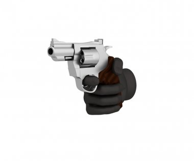 Hand in a black glove holding a revolver. 3d render. White backg