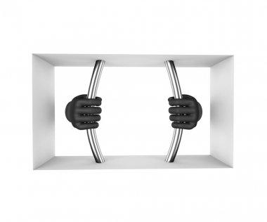 Hands in black gloves decompress the prison bars. 3d render. Whi