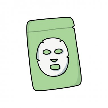 Sheet face mask doodle icon, vector illustration icon
