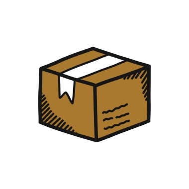 Parcel doodle icon, vector illustration icon