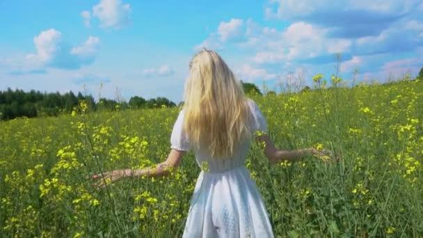 Mladá krásná dívka v bílých šatech prochází kvetoucí řepkové pole a dotýká se rostlin s rukama v létě