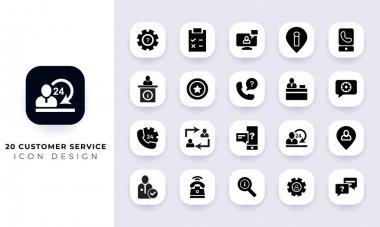 Minimal flat customer service icon pack. In this pack incorporate with twenty different customer service icon. icon