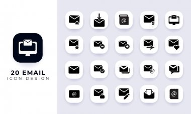 Minimal flat email icon pack. In this pack incorporate with twenty different email icon. icon