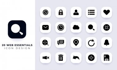 Minimal flat web essentials icon pack. In this pack incorporate with twenty different web essentials icon. icon