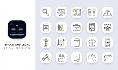 Line art incomplete law and legal icon pack. In this pack incorporate with twenty different law and legal icon. icon
