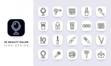 Line art incomplete beauty salon icon pack. In this pack incorporate with twenty different beauty salon icon. icon
