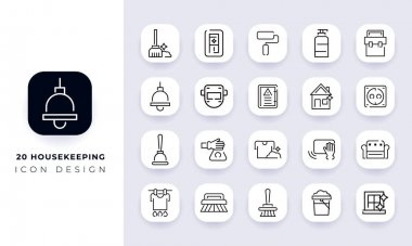 Line art incomplete housekeeping icon pack. In this pack incorporate with twenty different housekeeping icon. icon