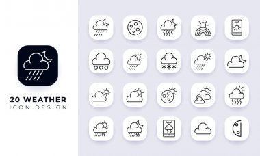 Line art incomplete weather icon pack. In this pack incorporate with twenty different weather icon. icon