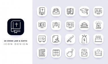 Line art incomplete crime law & justic icon pack. In this pack incorporate with twenty different crime law & justic icon. icon