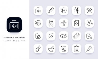 Line art incomplete medical & healthcare icon pack. In this pack incorporate with twenty different medical & healthcare icon. icon