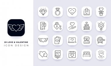 Line art incomplete love & valentine icon pack. In this pack incorporate with twenty different love & valentine icon. icon