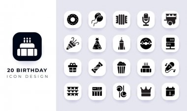 Minimal flat birthday icon pack. In this pack incorporate with twenty different birthday icon. icon