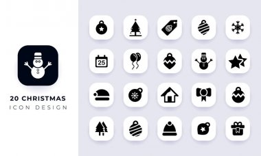 Minimal flat christmas icon pack. In this pack incorporate with twenty different christmas icon. icon