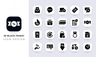 Minimal flat black friday icon pack. In this pack incorporate with twenty different black friday icon. icon