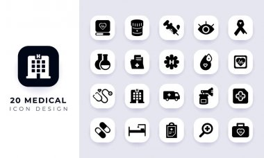 Minimal flat medical icon pack. In this pack incorporate with twenty different medical icon. icon