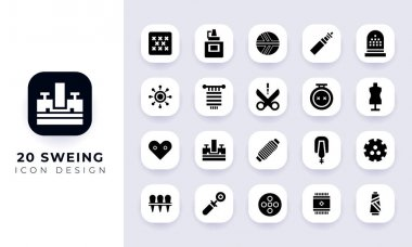 Minimal flat sweing icon pack. In this pack incorporate with twenty different sweing icon. icon