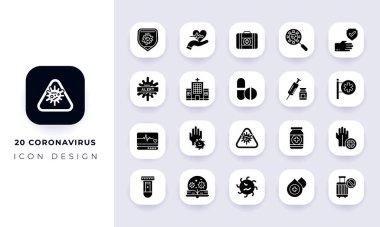 Minimal flat coronavirus icon pack. In this pack incorporate with twenty different coronavirus icon. icon