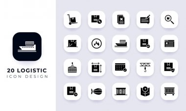 Minimal flat logistic icon pack. In this pack incorporate with twenty different logistic icon. icon