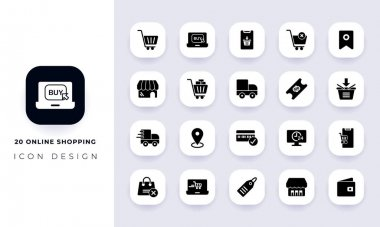 Minimal flat online shopping icon pack. In this pack incorporate with twenty different online shopping icon. icon