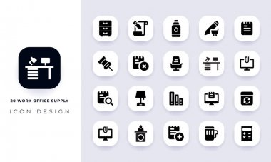 Minimal flat work office supply icon pack. In this pack incorporate with twenty different work office supply icon. icon