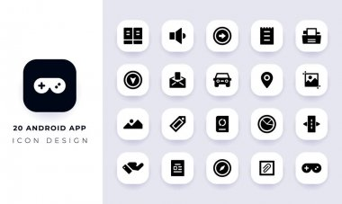 Minimal flat android app icon pack. In this pack incorporate with twenty different android app icon. icon