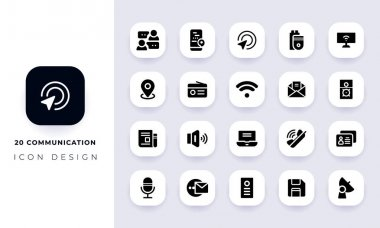 Minimal flat communication icon pack. In this pack incorporate with twenty different communication icon. icon