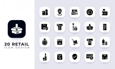 Minimal flat retail icon pack. In this pack incorporate with twenty different retail icon. icon